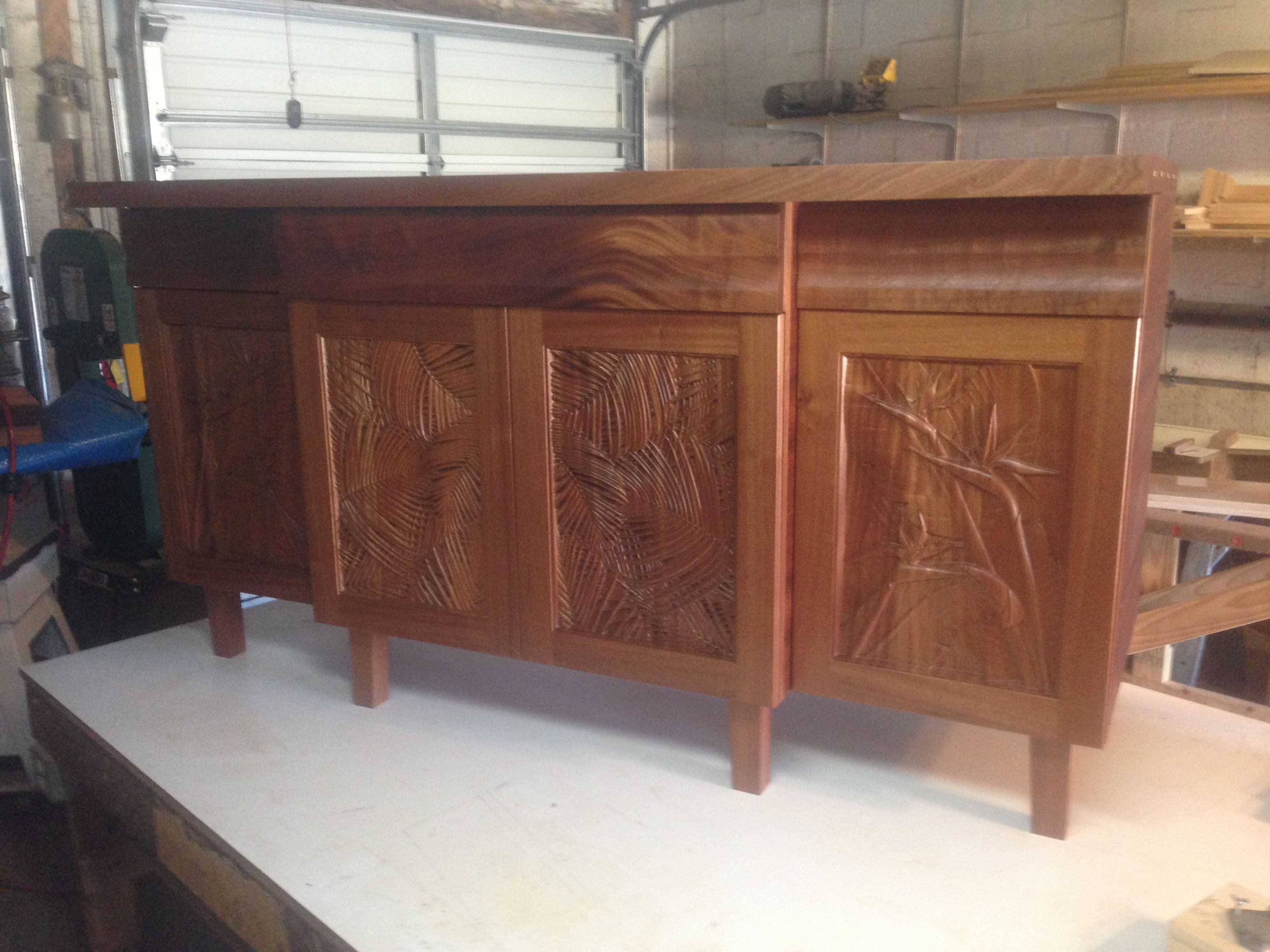 wood carved panels - cabinets - bird of paradise | carved tropical