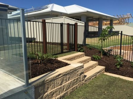 gb heron garden wall with landscape steps black aluminium fence and