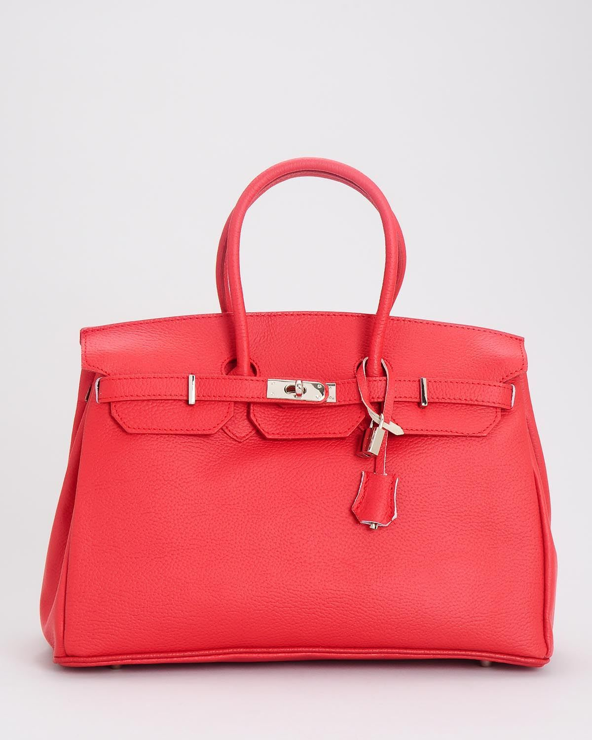 H Davina Genuine Leather Structured Top Handle Satchel- Made in ... 911cb72aba44e