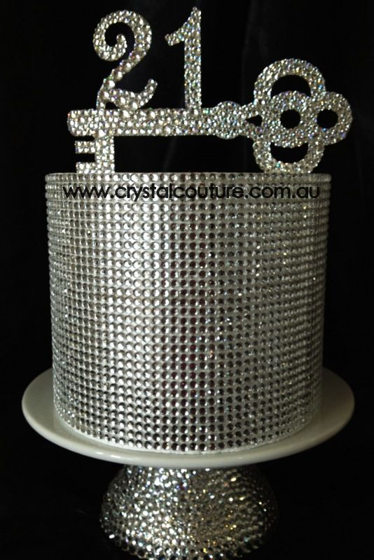 21st Birthday Bling Cake Topper Embellished With Swarovski Crystals Alyssa Mitchell For Your Bday