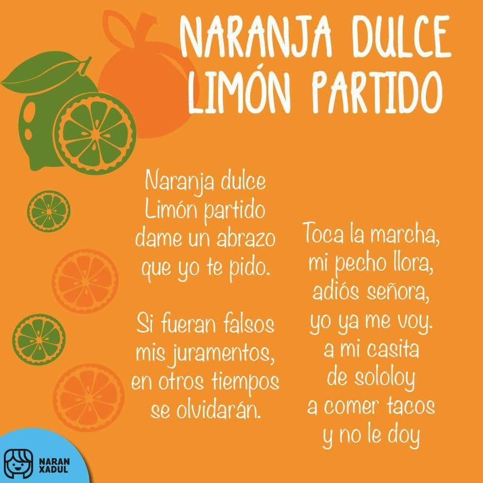 Naranja Dulce Jlra Letras De Canciones Infantiles Canciones De Niños Dulce De Naranja
