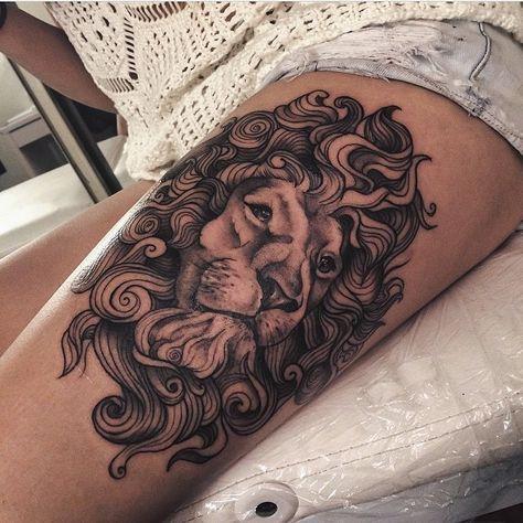 Beau tatouage t te de lion sur la cuisse d 39 une femme tatouage signe du zodiaque lion - Tattoo tete de lion ...
