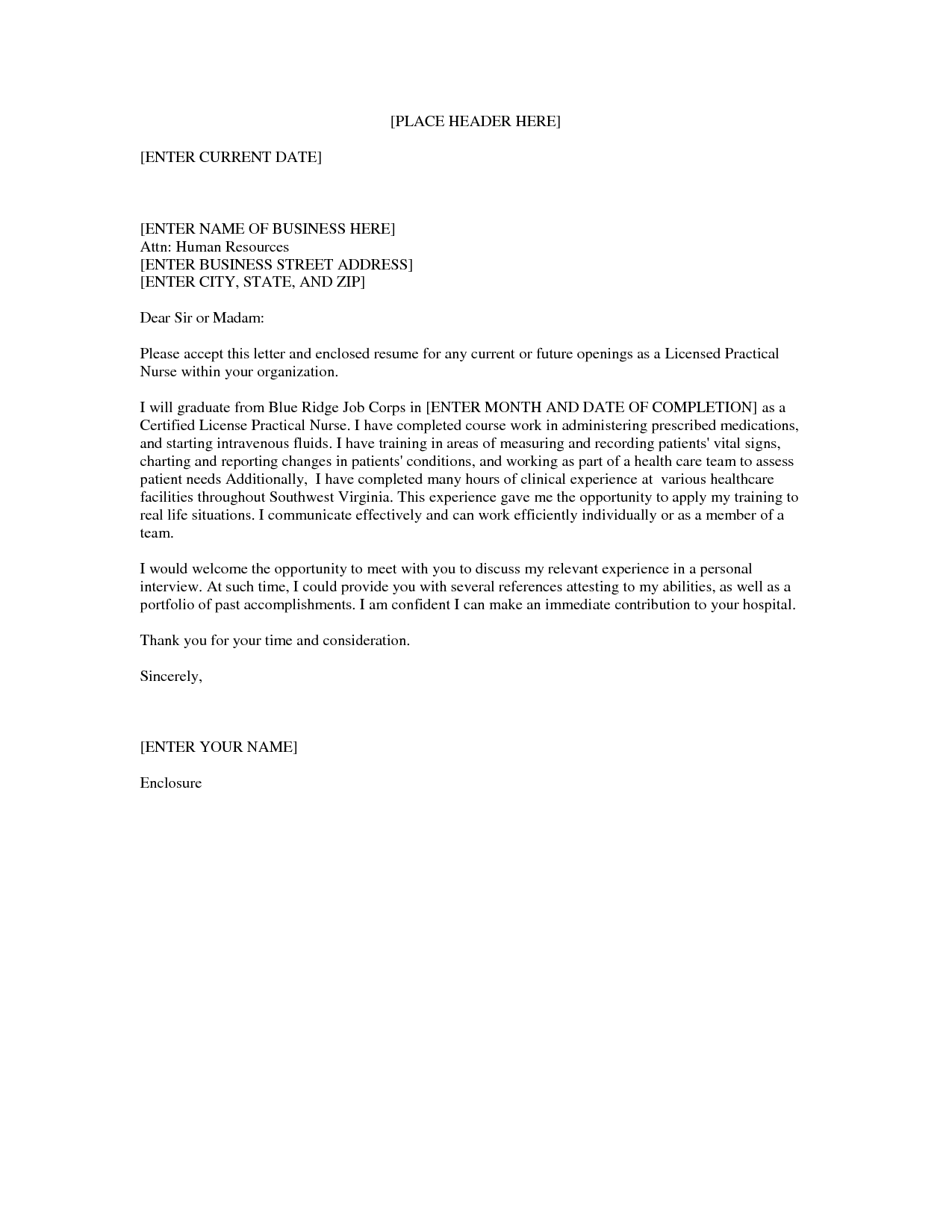 lpn nursing cover letter sample