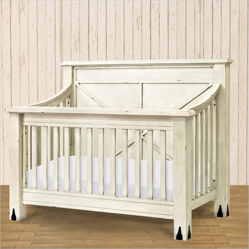 franklin u0026 ben providence 4in1 crib in distressed white - White Baby Crib