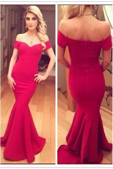 abde8b6ed5 Fuchsia Long Off Shoulder Bodycon Mermaid Evening Dress | Prom ...