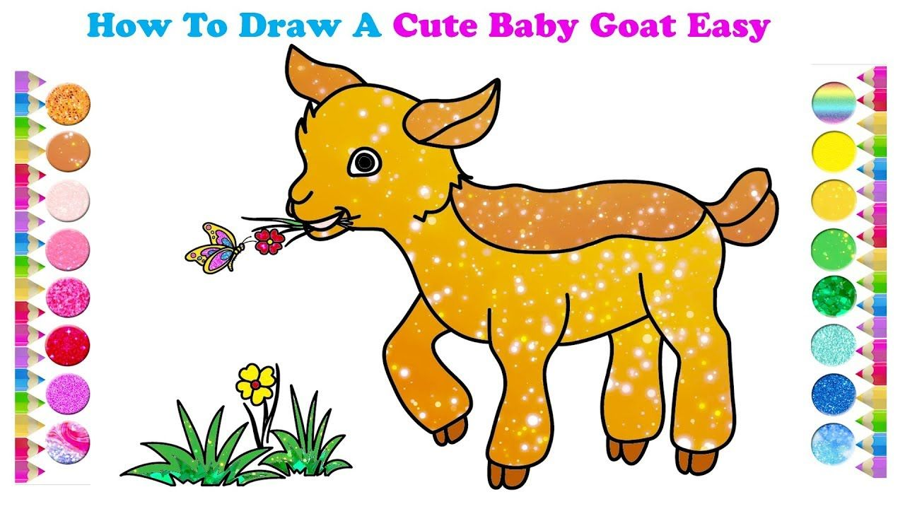 How To Draw A Cute Baby Goat Easy For Kids How To Draw Pinterest