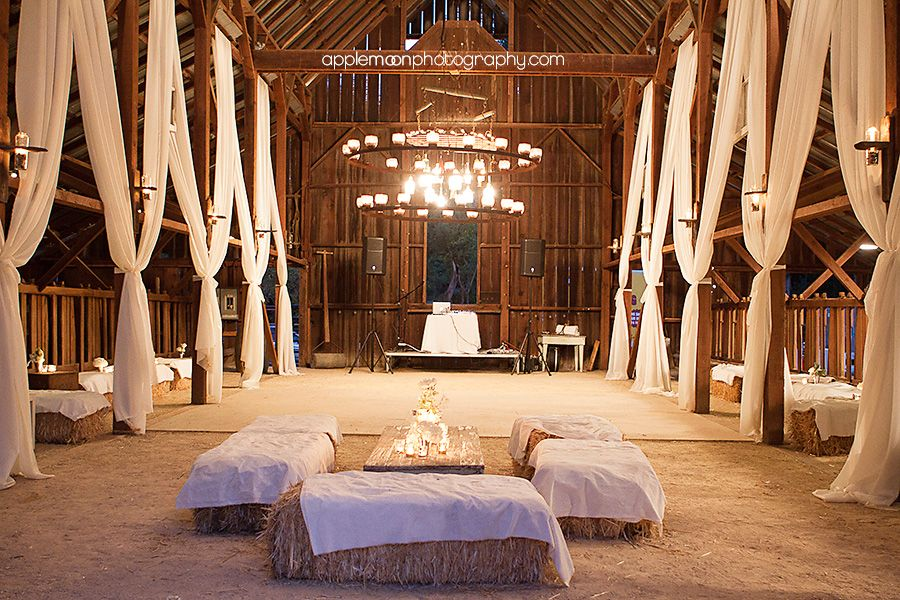 The Dance Floor White Drapery And Hay Bale Seating
