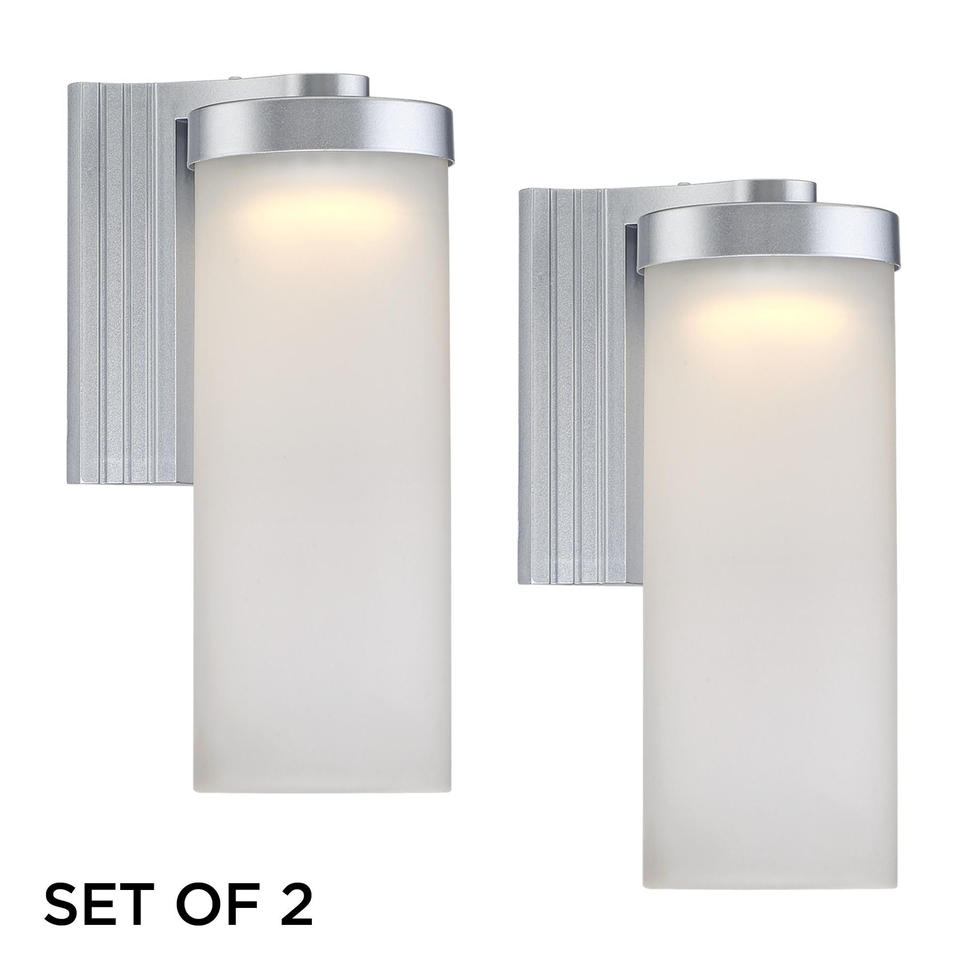 Set of 2 cleo 10 12 high silver led outdoor wall lights style set of 2 cleo 10 12 high silver led outdoor wall lights arubaitofo Image collections