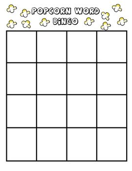 this document is a blank bingo board to use with kindergarten1st grade students have students fill in the boxes by writing popcorn words sight
