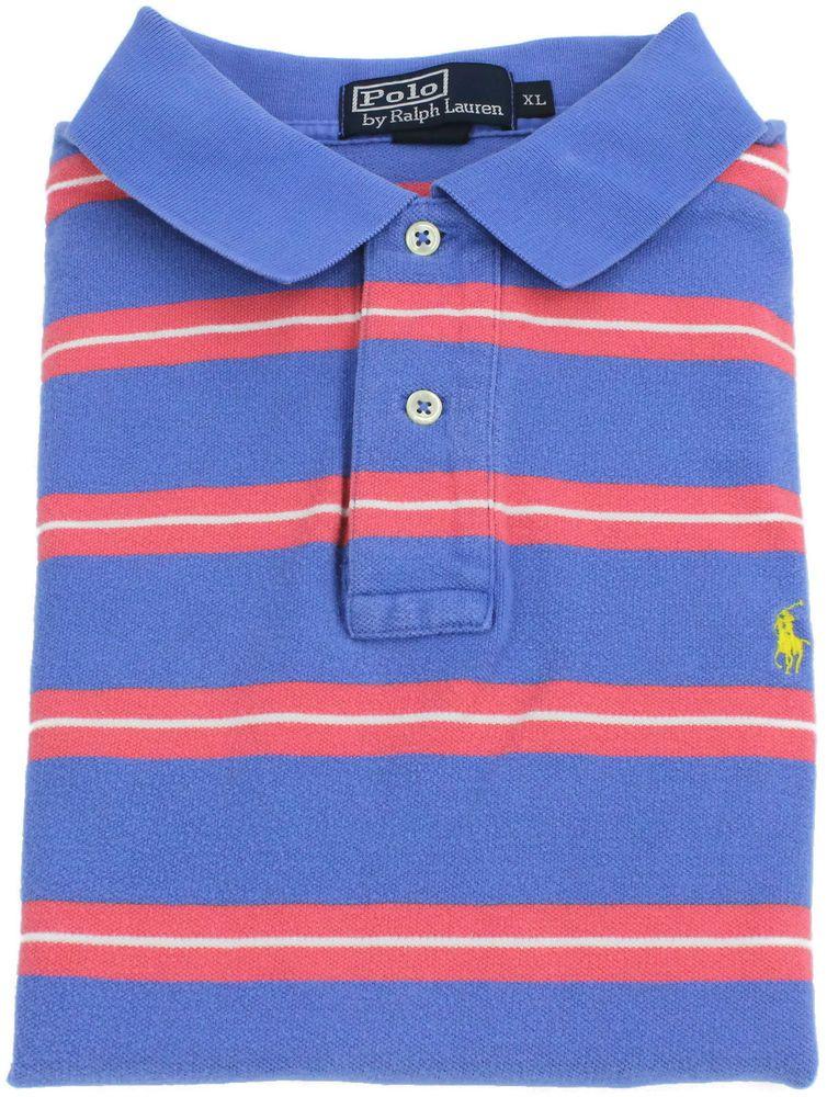 Ralph Lauren Polo Shirt XL Mens Size Short Sleeve Striped Pink Blue Pony  Cotton #PoloRalphLauren