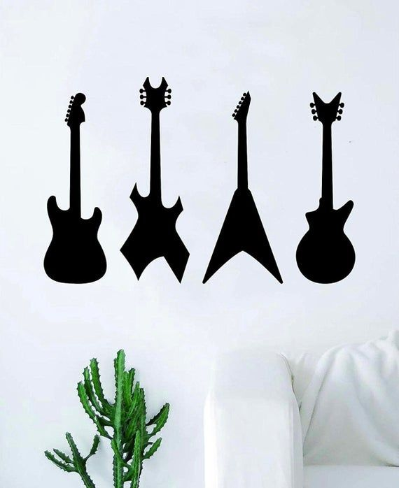 Guitars v2 Wall Decal Sticker Art Vinyl Home Decor Living Room Bedroom Teen Music Musician Band Beau