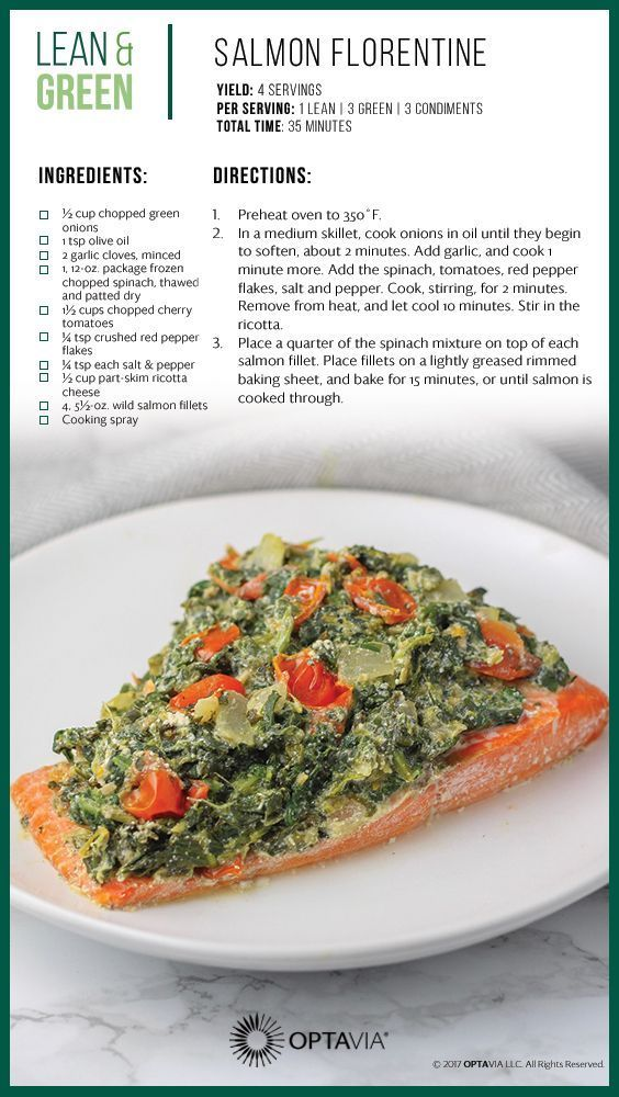 Salmon Florentine Optavia Approved Lean And Green Recipe