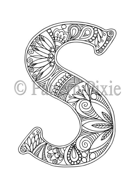 Adult Colouring Page Alphabet Letter S Alphabet Coloring Pages Coloring Pages Letter A Coloring Pages