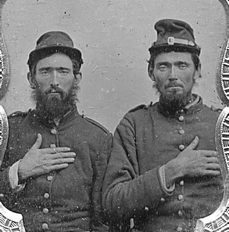 Sgt. James Riley Nichols and Pvt. Thomas Young Nichols, Company D, 13th Kentucky Infantry US