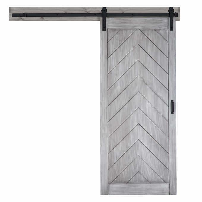 Renin Herringbone Barn Door With Hardware Kit Easy Glide Soft Close Garage Door Design Barn Door Garage Door Makeover