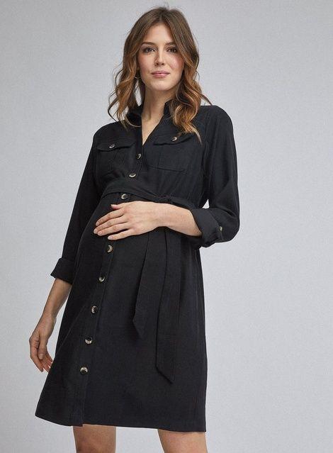 ** Mutterschaft Schwarzes Hemdkleid   – Products