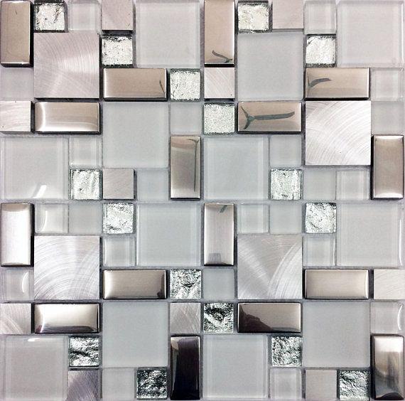 Silver Brushed Aluminum Tile White Frosted Glass Backsplash Kitchen Random Magic Metal Coated Crystal Mosaic Tiles Kitchen Wall Tiles Metal Tile Backsplash Glass Tile Backsplash