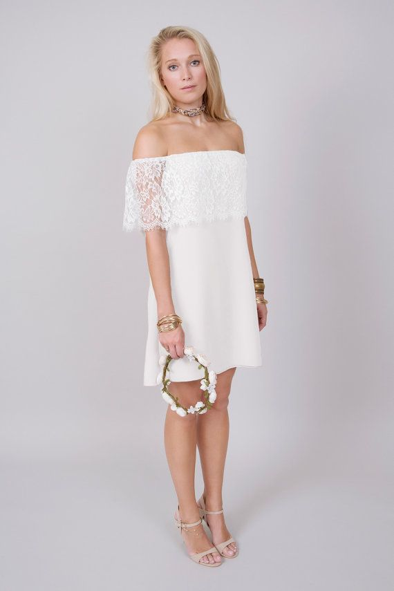 Off Shoulder Lace Mini Dress The Amber Boho Wedding
