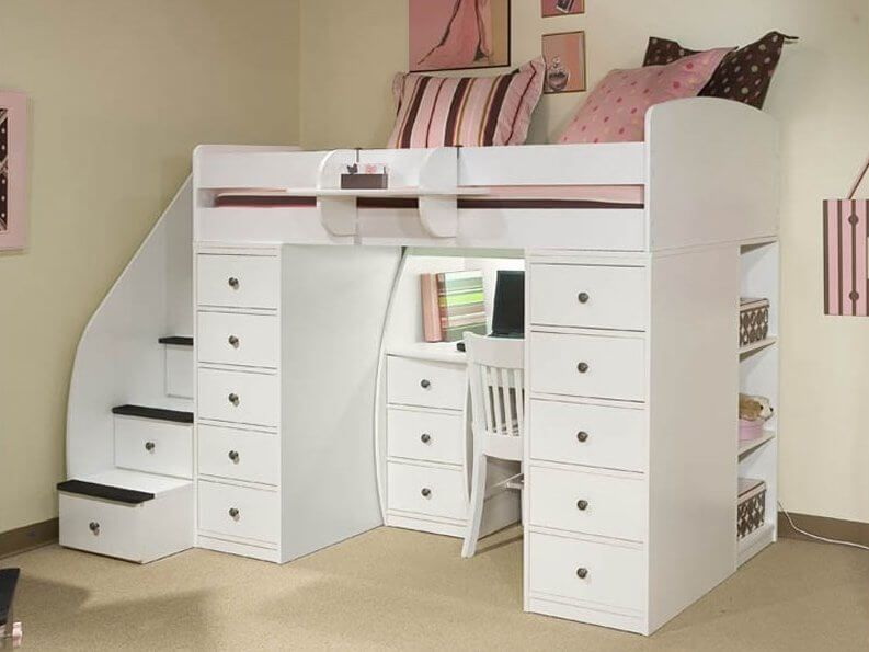 25 Awesome Bunk Beds With Desks Perfect For Kids Cool Loft Beds Kids Loft Beds Twin Loft Bed