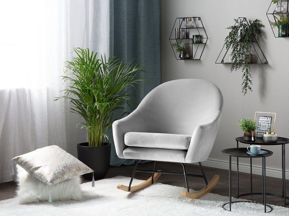 Velvet Rocking Chair Light Grey OXIE Rocking chair