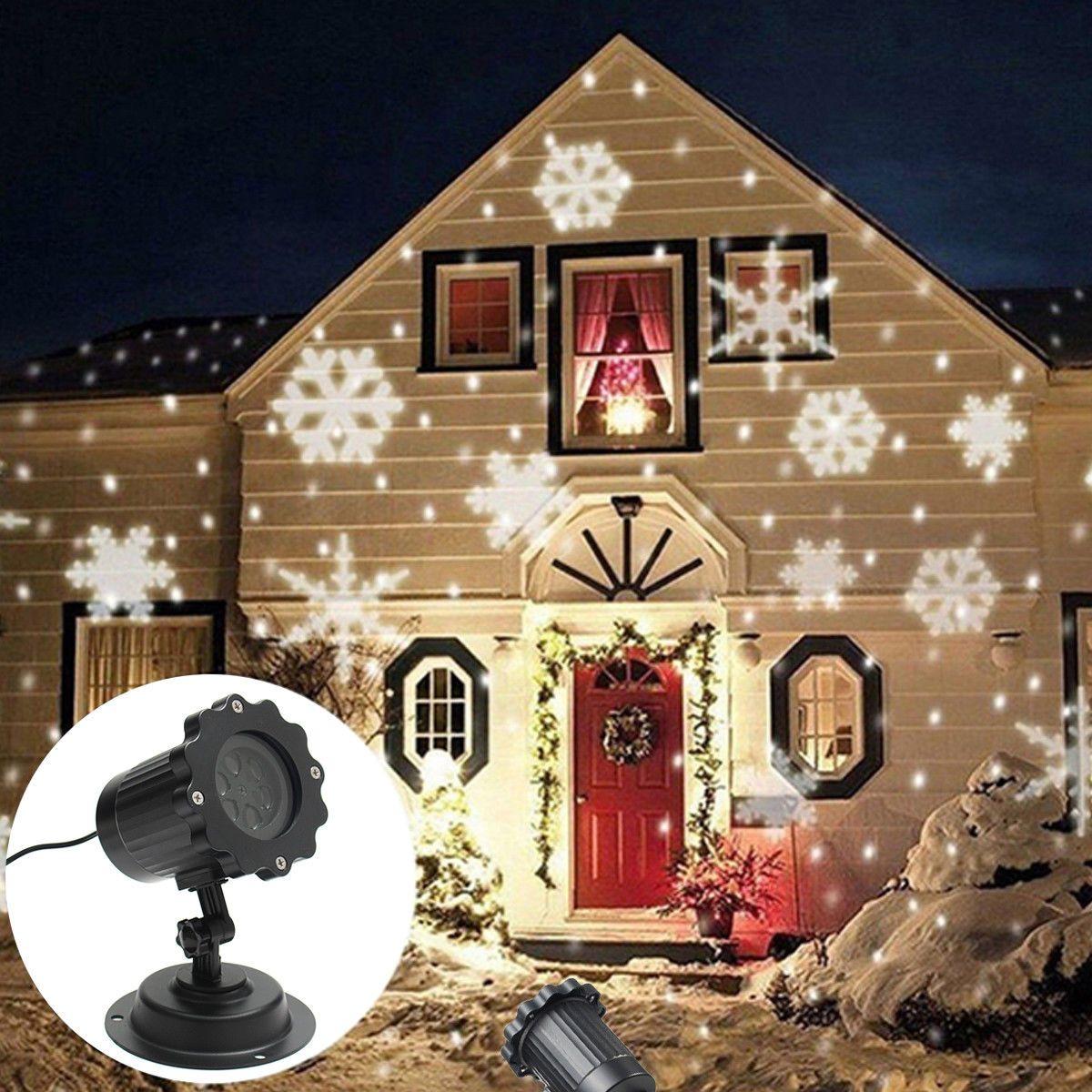 12 91 Outdoor Moving Laser Projector Led Light Snowflake Pattern Christmas 100 240v Ebay Home Garden Exterior Christmas Lights Christmas Light Projector Christmas Projector