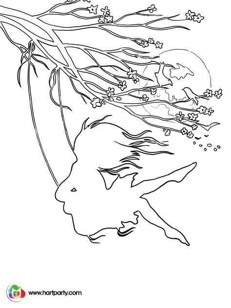 Hopes Swing Traceable Coloring Page Of A Girl On From Cherry Blossoms