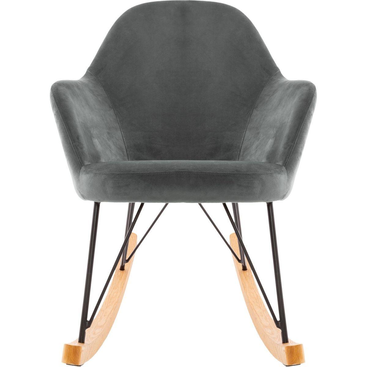 Unique TailleTaille Gris Velour Chair En Rocking Ewan b6gY7yf