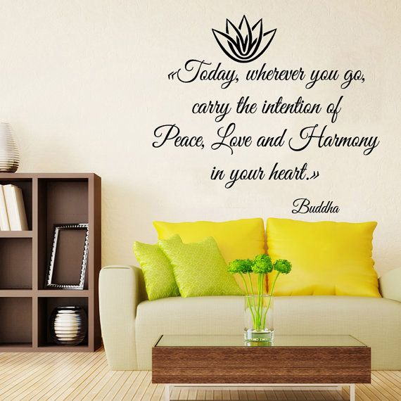 Lotus Wall Decals Buddha Life Quotes Peace Love Harmony In Your ...