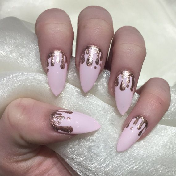 Baby pink stiletto false nails with rose gold glitter drip design ...