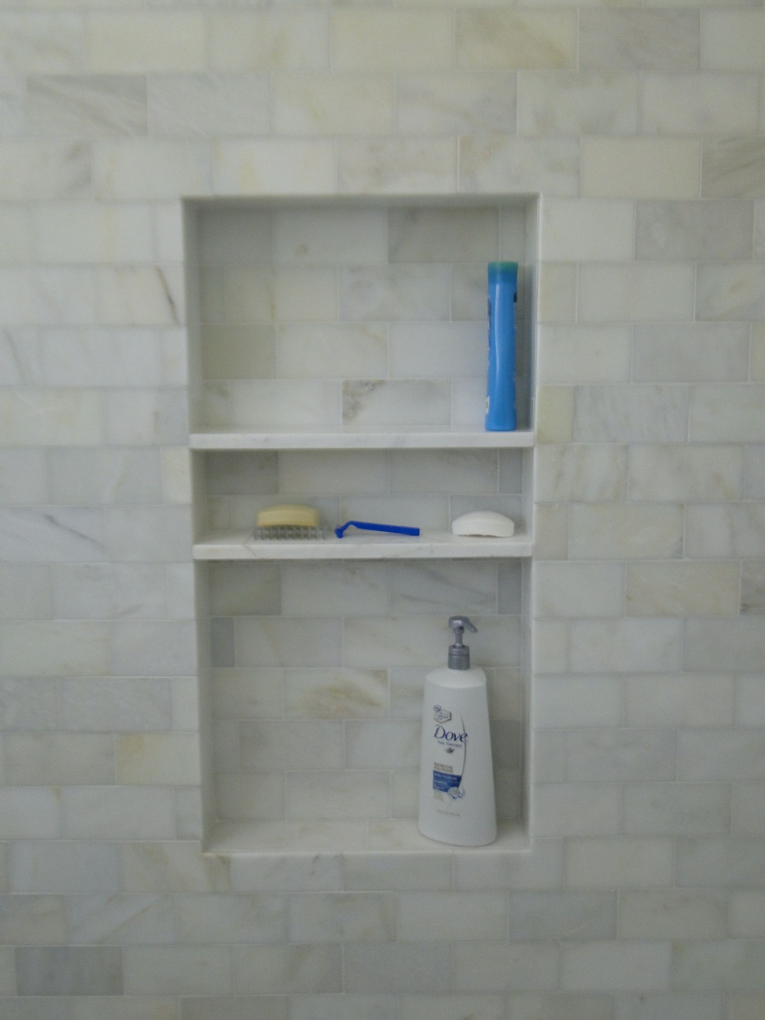 Shower Niche With Enough Height For Costco Sized Shampoo On Bottom