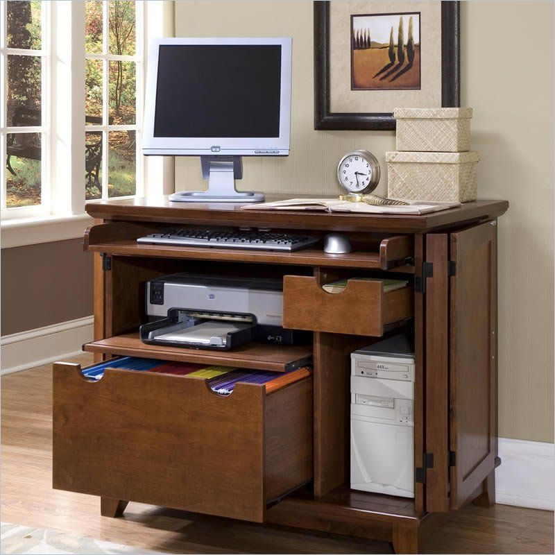 simple computer desk home styles arts u0026 crafts compact computer cabinet in cottage oak
