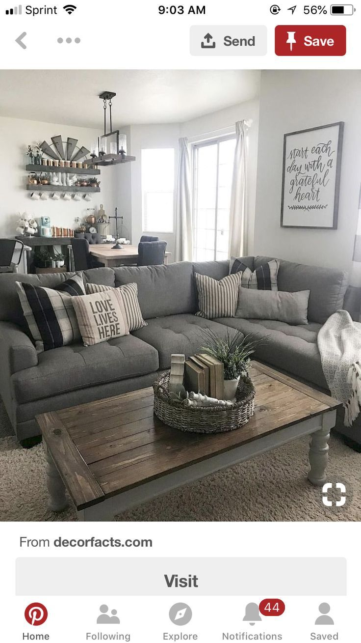 gray sectional | Silver living room, Family living rooms ...