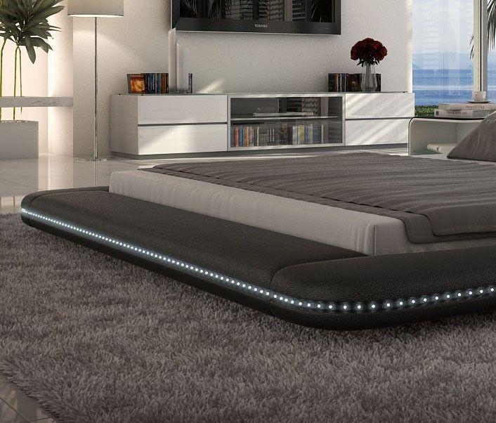 modern black platform bed with led lighting king