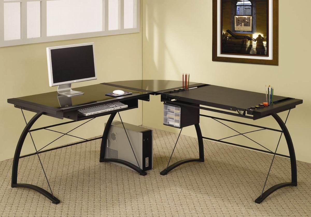 50 Black Gl L Shaped Computer Desk