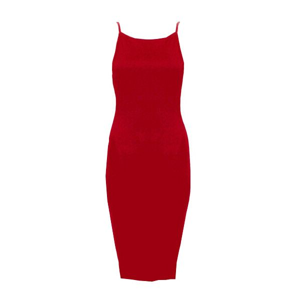 Red Spaghetti Strap Backless Bodycon Dress (44 BRL) ❤ liked on Polyvore featuring dresses, red, red dress, shift dress, red backless cocktail dress, sleeveless bodycon dress and bodycon cocktail dress