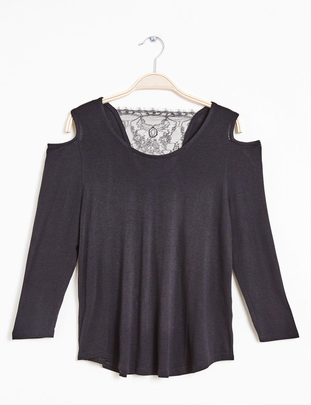 Tee-shirt détail dentelle noir - http   www.jennyfer.com fr-fr ... 251060d2d12