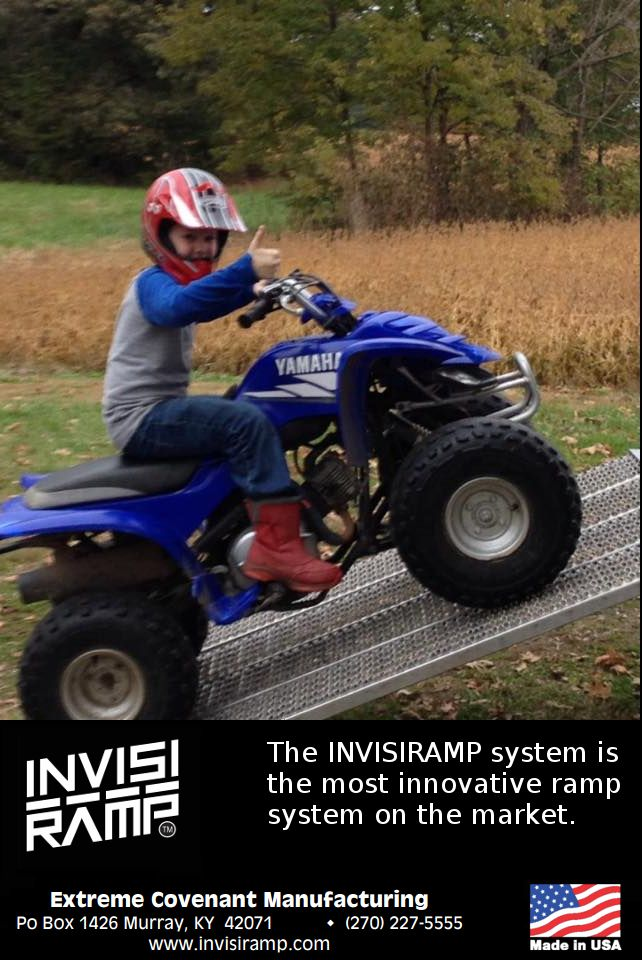 7 Year Old Loads His 4 Wheeler In The Pickup Truck On His Own With The Invisiramp Atv Ramp System Trucks Monster Trucks System