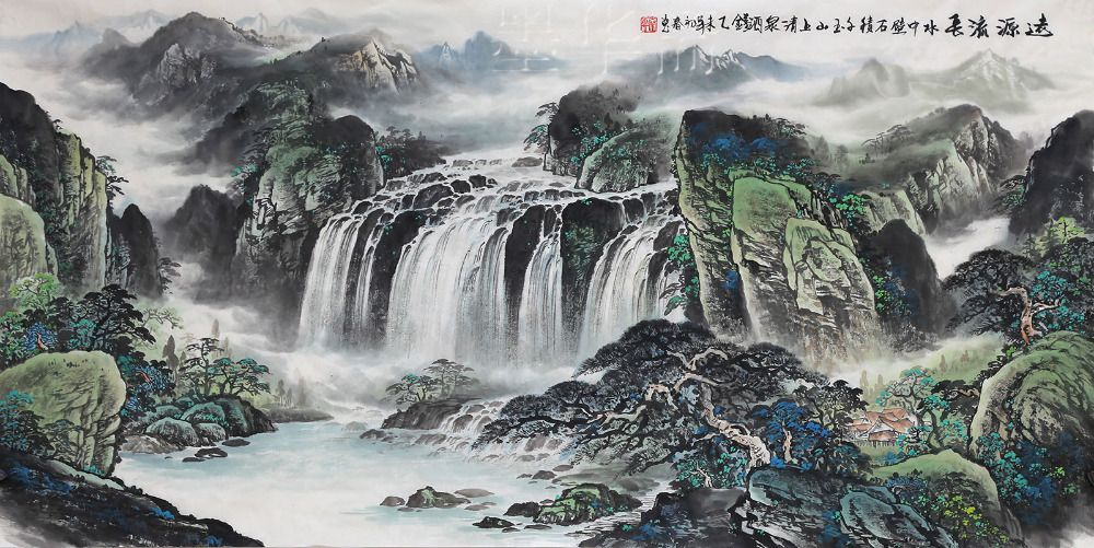 Original Chinese Painting Famous Artist Qin Yun Hand Painted Landscape Paintings Art Chinese Style Ink Painting Home Decoration In Painting Amp Calligraphy Fr