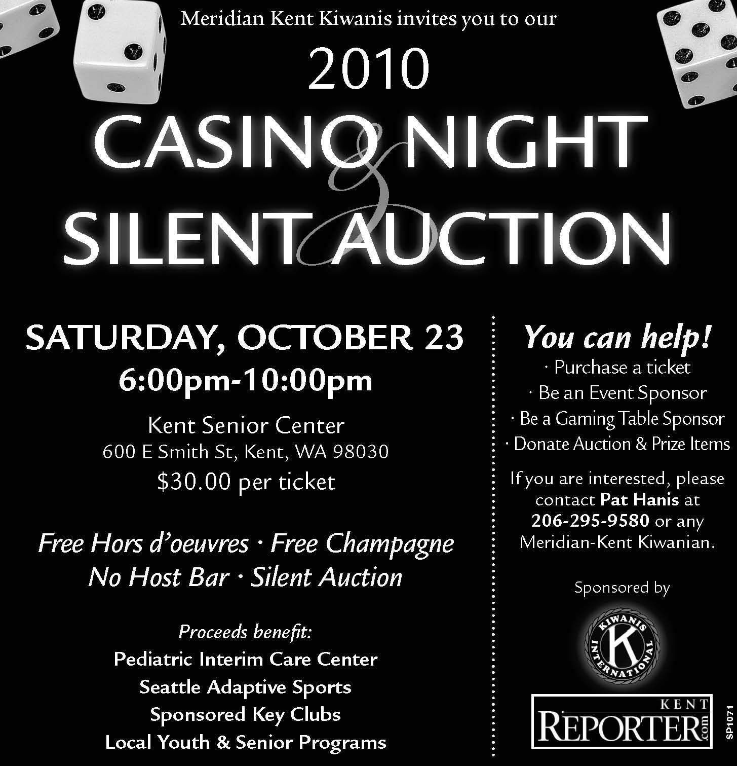 Meridian Kent Kiwanis Fundraiser – Oct. 23 – Casino Night! | I ...