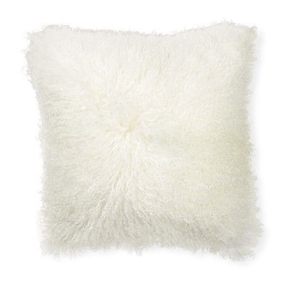 Mongolian Lambswool Pillow Cover 20 Quot X 20 Quot Ivory In 2019