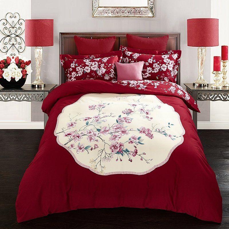 Dark Red And Beige Floral Print Asian Inspired Oriental Style Sophisticated Elegant 100 Brushed Cotton Full Q Bed Furniture Set Bedding Sets Red Bedding Sets