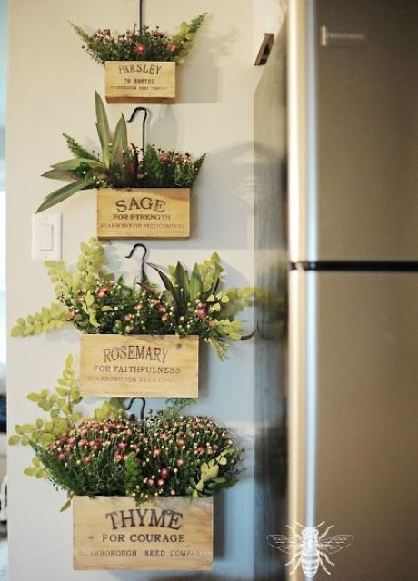 Indoor Herb Garden Used As Wall Decor Adds Color Scent And Freshness Diy Garden Decor Herb Boxes Farmhouse Wall Decor