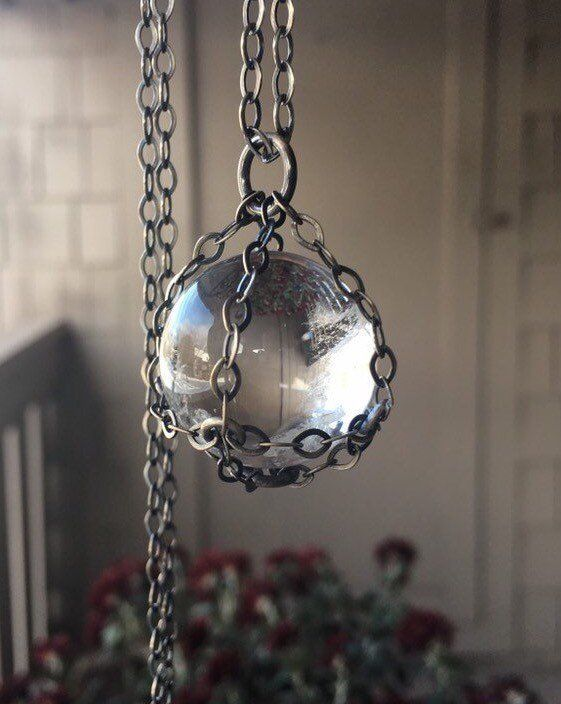 Crystal Ball Necklace / Sterling Silver / Crystal