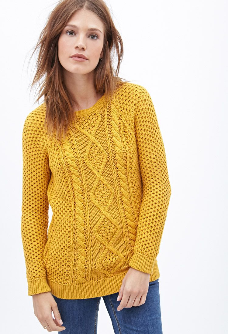 Forever21 Cable Knit Fisherman Sweater Mustard My Style