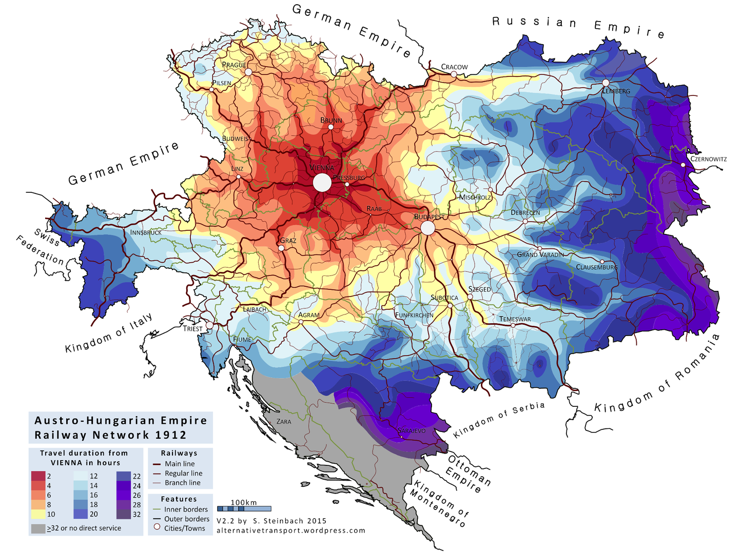 Isochrone Map Austro Hungarian Empire Railway Network 1912 In English Europe Map Infographic Map Map