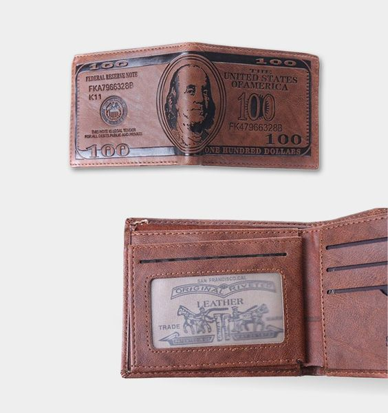 US Dollar Bill Wallet Leather Bifold Wallet Credit Card Photo Check Holder Purse