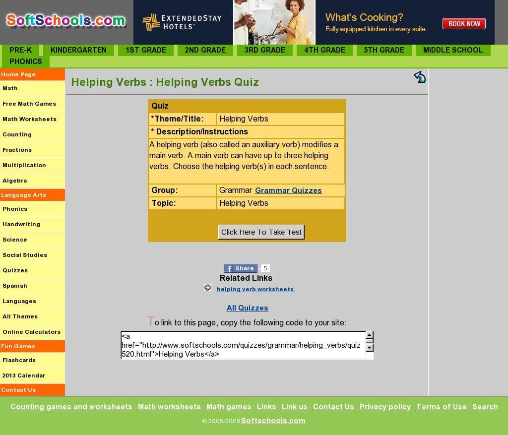 Helping Verb Quiz From Www Softschools Com Subject Verb Agreement Helping Verbs Subject And Verb