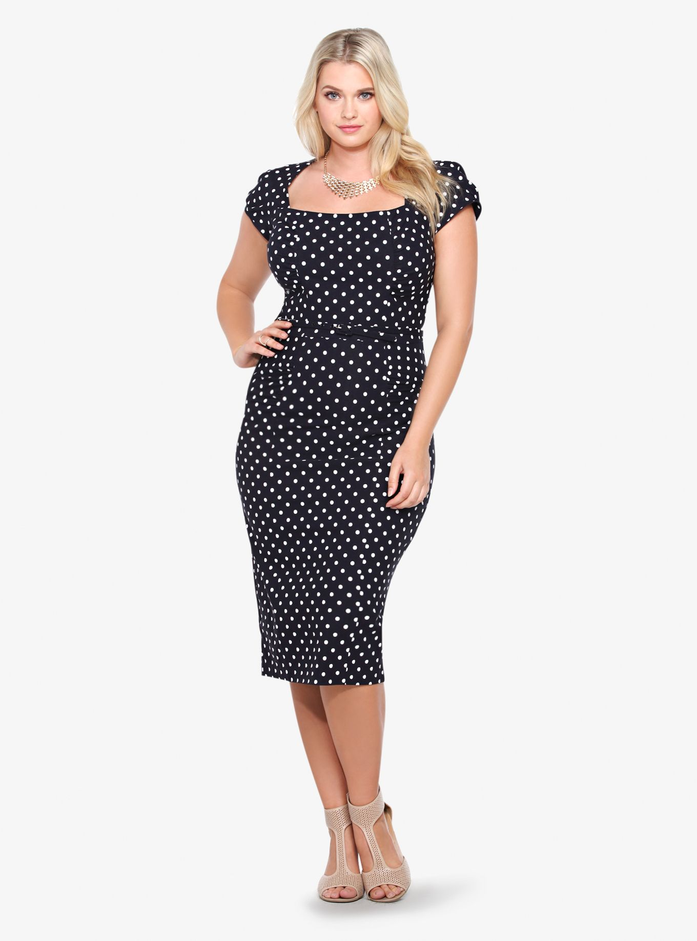 3a8907bb9af8 Stop Staring! Polka Dot Pencil Dress   Torrid   Clothes, shoes, and ...