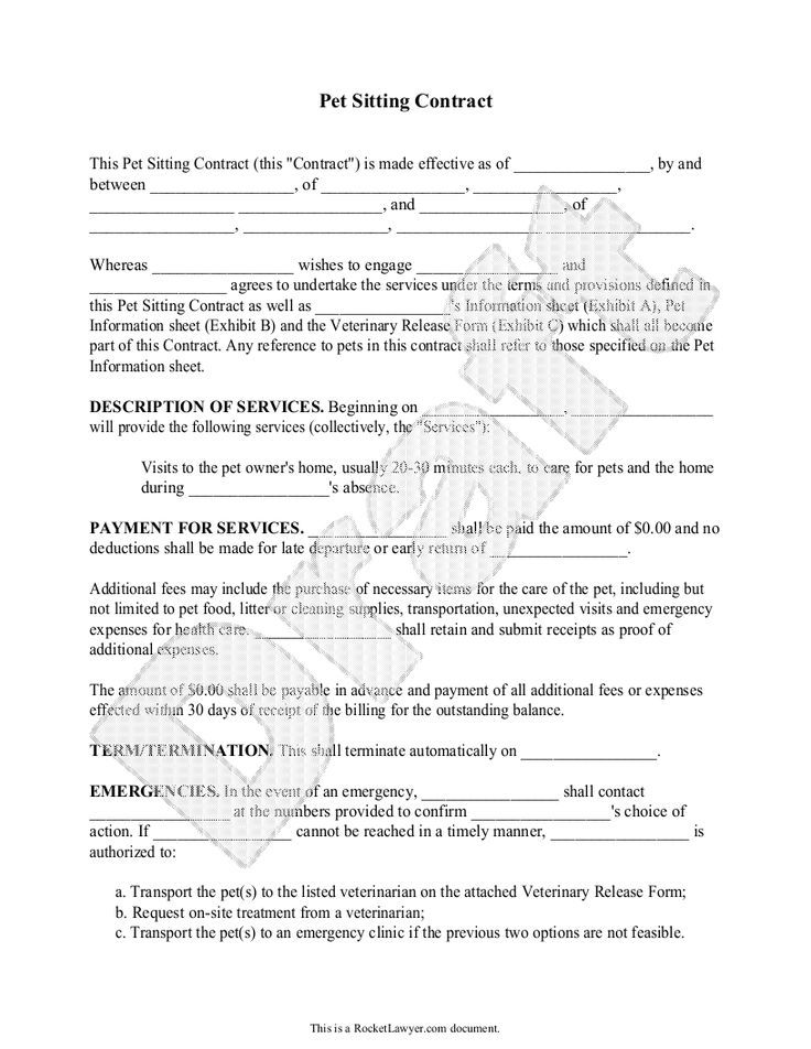 nice Pet Sitting Contract Template - Service Agreement Form for - business sale contract template