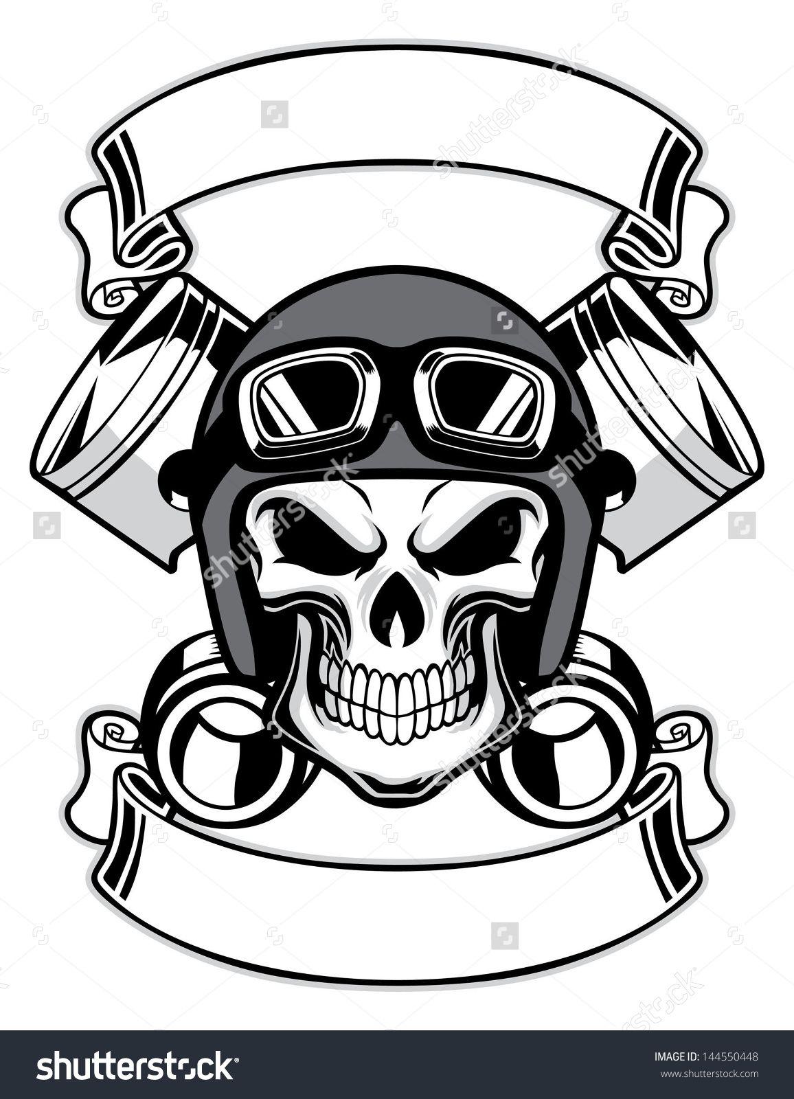 Resultado De Imagem Para Skull Wearing Retro Motorbike